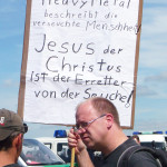 Der Hit auf allen Metalfestivals: Christliche Demonstranten (Quelle: Anne Swallow)
