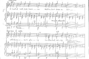 In der Original-Handschrift: die Hymne Beloved Cayman Islands ()